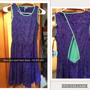 New Navy & Teal Lace Open Back Dress - short/mini